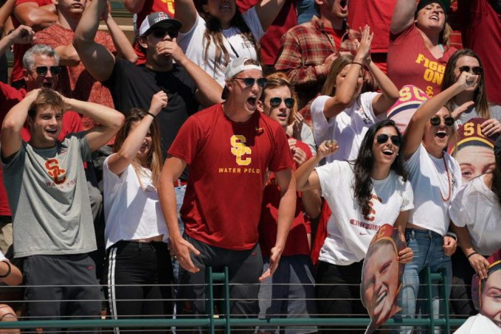 May 11, 2019; Avery Aquatic Center, Palo Alto, CA, USA; Collegiate Women's Water Polo: NCAA Semi Finals: USC Trojans vs California Golden Bears; USC Trojans Mens Water Polo Team are in the stands to cheer on the Women of Troy Photo credit: Catharyn Hayne
