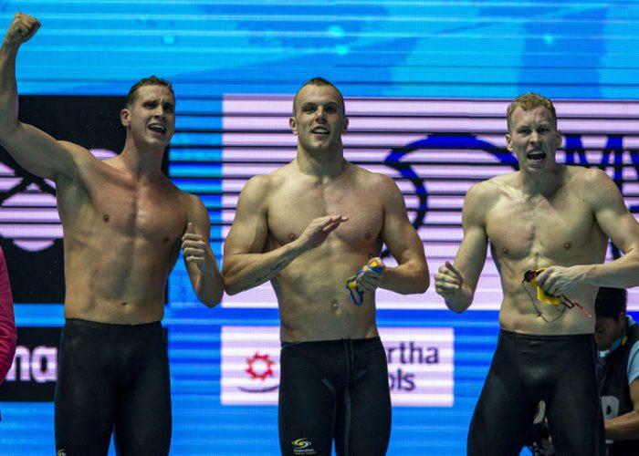 Team Australia celebrates after winning in the men's 4x200m Freestyle Relay Final during the Swimming events at the Gwangju 2019 FINA World Championships, Gwangju, South Korea, 26 July 2019.