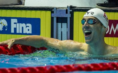 Jeremy Desplanches of Switzerland celebrates after finishing second in the men's 200m Individual Medley (IM) Final during the Swimming events at the Gwangju 2019 FINA World Championships, Gwangju, South Korea, 25 July 2019.