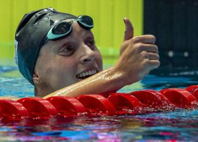 Katie Ledecky of the United States of America (USA) reacts after winning in the women's 800m Freestyle Final during the Swimming events at the Gwangju 2019 FINA World Championships, Gwangju, South Korea, 27 July 2019.