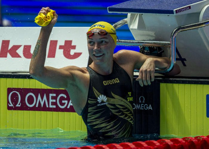 Sarah Sjostrom of Sweden celebrates after winning in the women's 50m Butterfly Final during the Swimming events at the Gwangju 2019 FINA World Championships, Gwangju, South Korea, 27 July 2019.