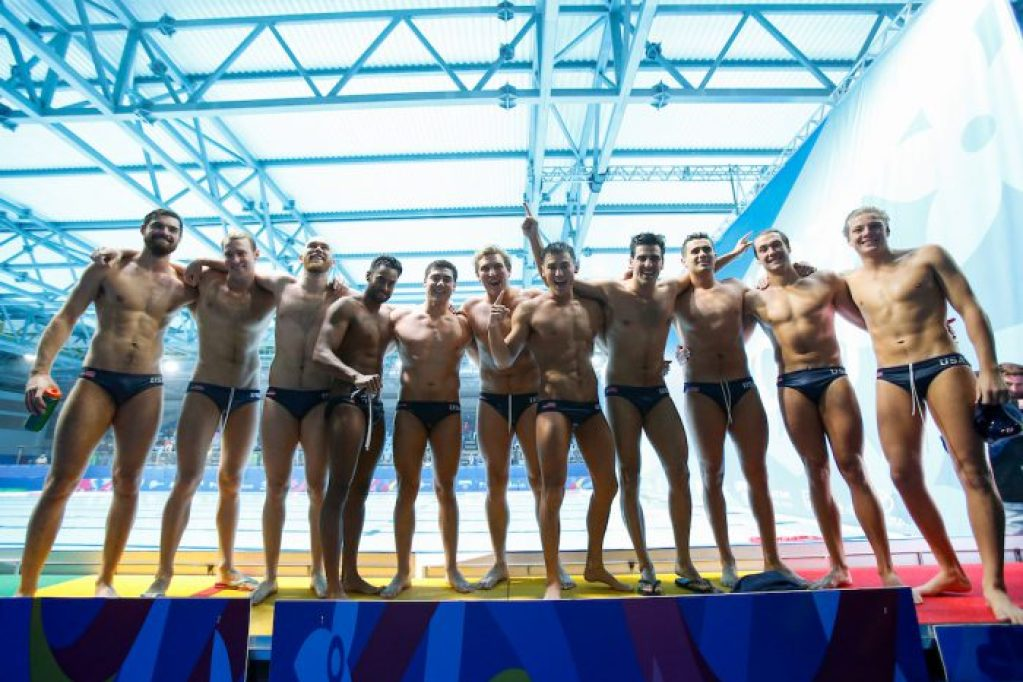 Lima, Saturday August 10, 2019 - The USA team celebrates after winning the Men´s Water Polo Gold match against Canada at the Complejo Deportivo Villa Maria del Triunfo at the Pan American Games Lima 2019. Copyright Enrique Cuneo / Lima 2019 Mandatory credits: Lima 2019 ** NO SALES ** NO ARCHIVES **