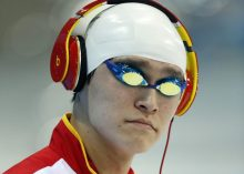 Yang Sun of China walks in before competing in the men's 1500m Freestyle Final during the Swimming competition held at the Aquatics Center during the London 2012 Olympic Games in London, Great Britain, Saturday, Aug. 4, 2012. (Photo by Patrick B. Kraemer / MAGICPBK)