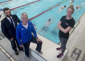 27/06/17 Convener of Education and Children's Services Committee Councillor John Wheeler with: Patrick Miley (elite coach for University of Aberdeen; Hannah Miley, Commonwealth Games gold medallist; Launch the newly formed University of Aberdeen Performance Swimming partnership and team to the press, and raise awareness within the local community.