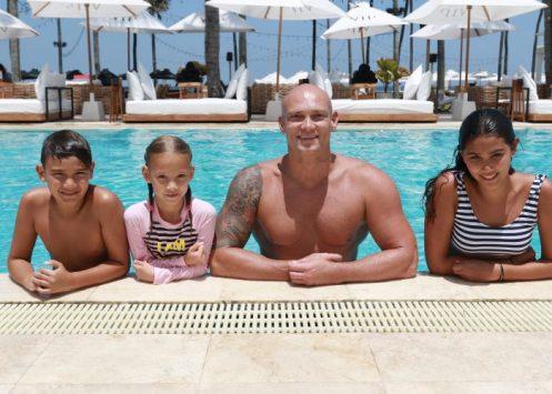 Michael Klim with kids Rocco 10, Frankie 7 and Stella,13