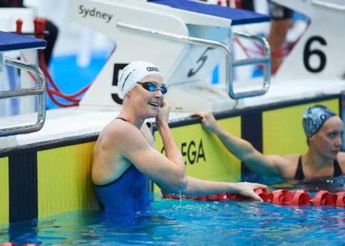 Cate Cambell all smiles after today's 100m free heats at the Sydney Open