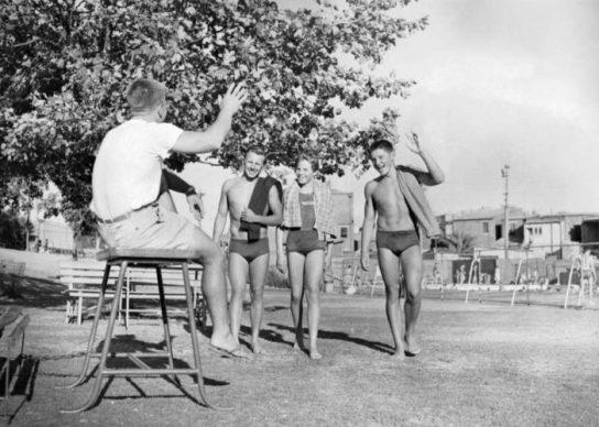 Don Talbot and swimmerrs Allen Kasble Ilsa and John Konrads