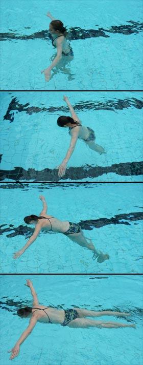 Fire billeder, der viser hvordan man kan afprøve sin flydeevne