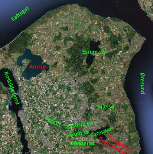 Kort over Nordsjælland. Svømbare søer markeret med grønt, ikke-svømbare søer markeret med rødt