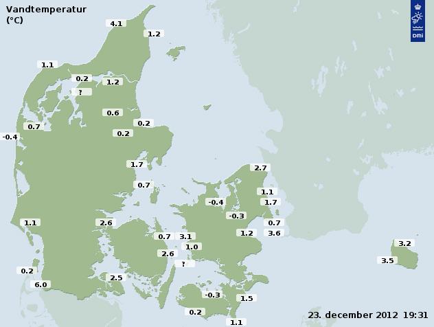 Vandtemperaturer i og omkring Danmark 23. december 2012