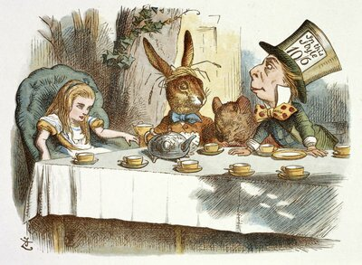 "Colour illustration of the Mad Hatter's Tea Party by Sir John Tenniel, from ""Alice's Adventures in Wonderland""."