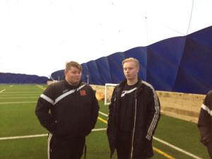 Manager Craig Bright with goalkeeper Harrison Painter