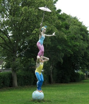 sculpture of acrobats