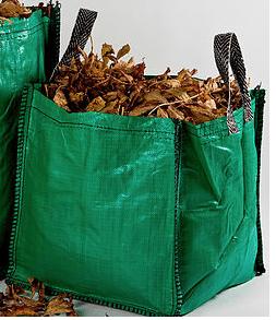 green bag full of garden stuff