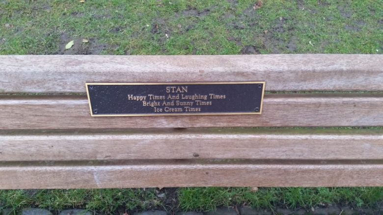 Stan - Ice cream times plaque on bench
