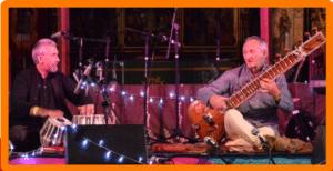 Musicians playing sitar and tabla