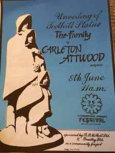 Poster for the unveiling of Carleton Attwood's 'The Watchers' at Toothill village centre