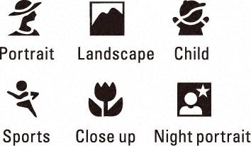 camera scene modes icons