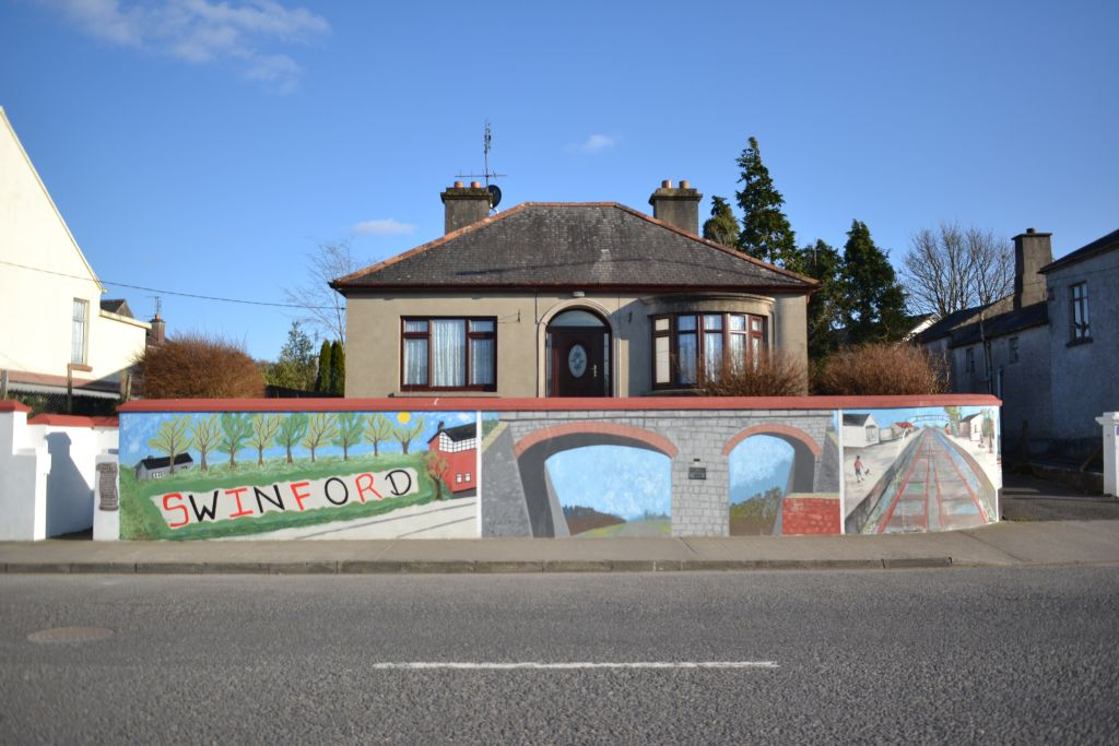 Mural at Chapel street Swinford. Designed and painted by Varina Mc Nicholas with the help and skills of Therese Hennigan.