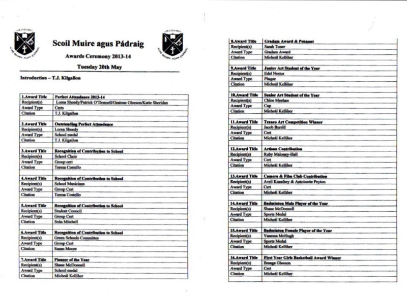 Scoil Muire agus Pádraig Awards 2014 p1