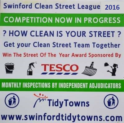 2016 Tesco Swinford Clean Street League August Results