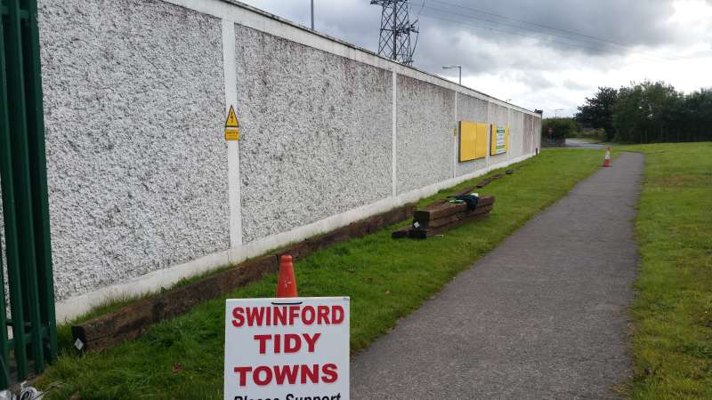 Work begins on the Swinford ESB wall flowerbed