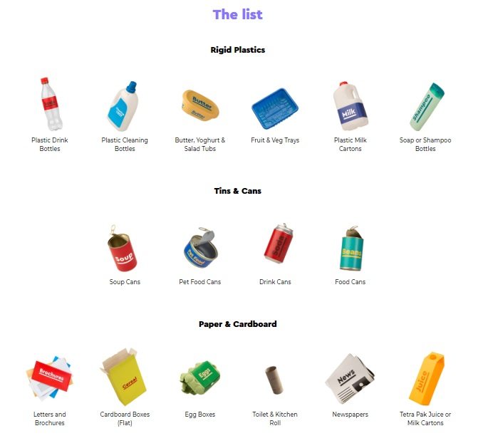 New recycling list 2018
