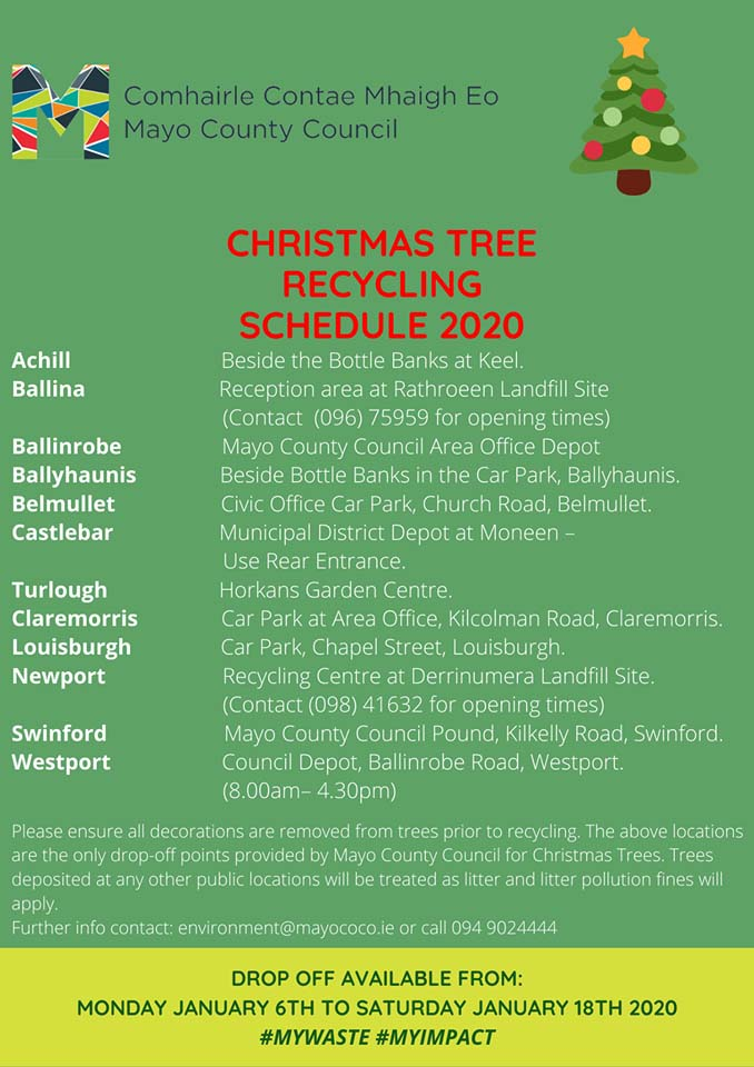 Christmas tree recycling in Swinford poster