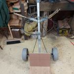Golf trolley being converted
