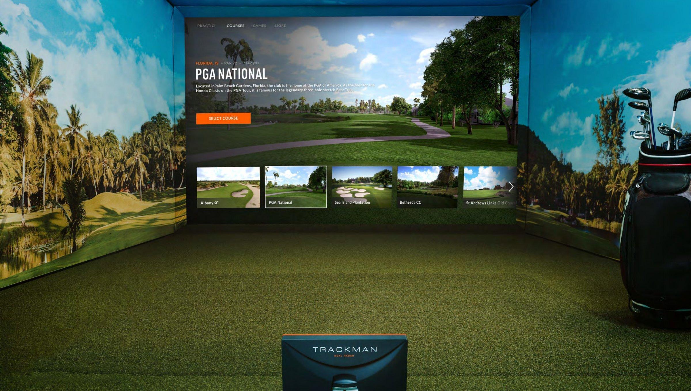 TrackMan indoor golf simulator