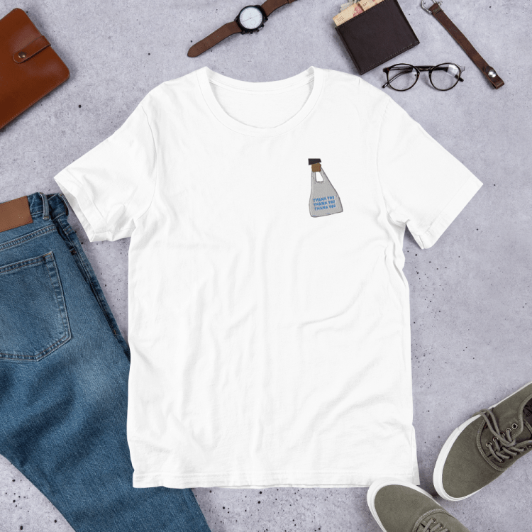 Swipeby Tshirt with to-go bag on it - white