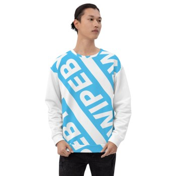Swipeby white and blue sweater with logo going across the front in 2 diagonal lines.