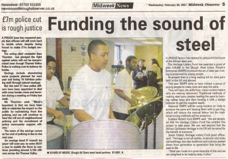 Slough's steel band all stars perform.