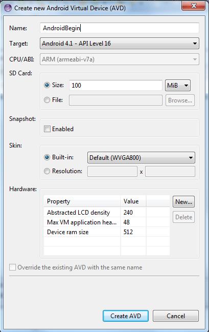 Create new AVD