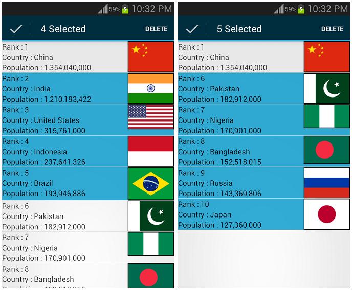 MultipleDeleteListView ScreenShots