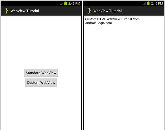 WebView Tutorial ScreenShots
