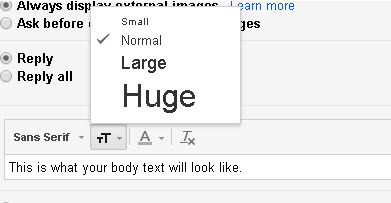 gmail-change-text size