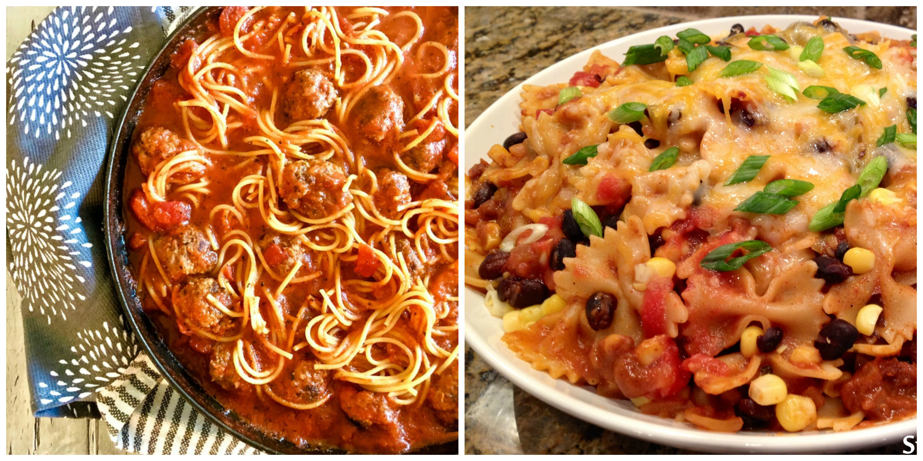 Spaghetti and meatballs and Mexicali Pasta