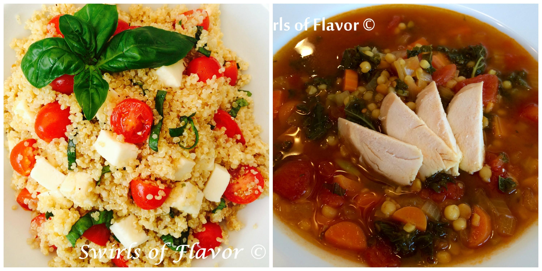 Caprese Quinoa and Quinoa Lentil Broth Bowl