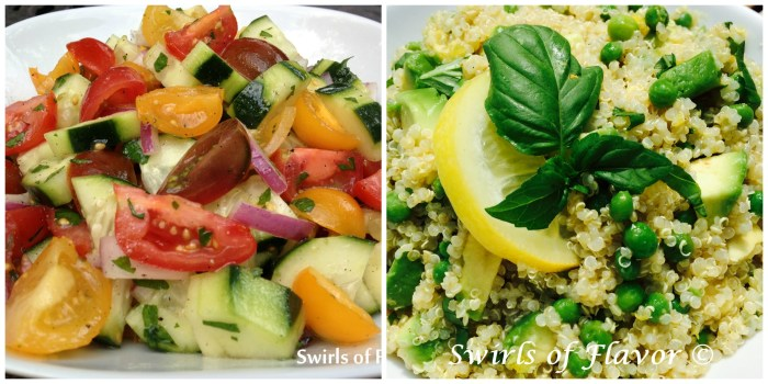 cucumber tomato salad and lemon avocado quinoa