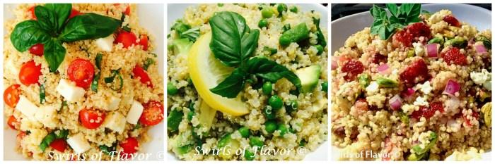 Caprese Quinoa; Avocado Quinoa and Strawberry Quinoa