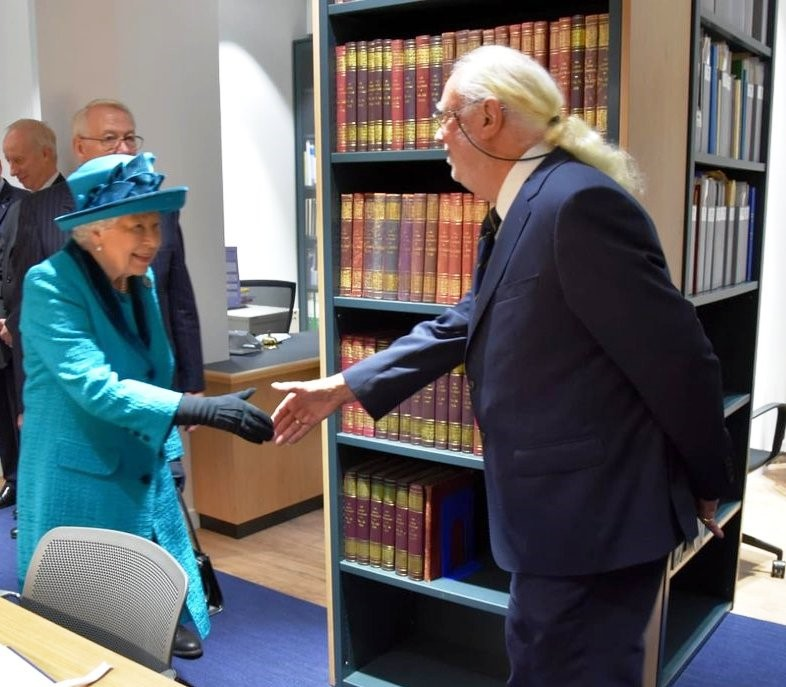 The photograph shows Jonathan Cartwright meeting H M Queen Elizabeth during her tour of the premises. Jonathan has been involved in the updating of the library. Readers may recollect that Mrs Alma Lee, a past stalwart of the HPS and distinguished philatelist,  was also  recognised for her contributions in support of the RPSL library.