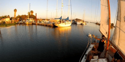 Sailing out of the marina
