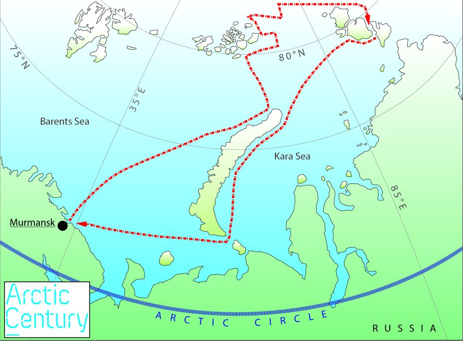 Schematic cruise path of the expedition