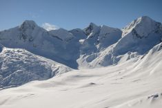 View from Stotzigen First to Lekki Horn (left), Stotzigen Muttenhorn (middle) and Gross Muttenhorn (right)