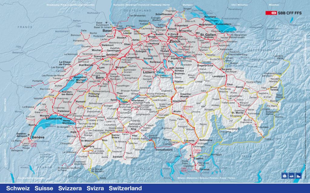 Carte des ligne CFF en Suisse