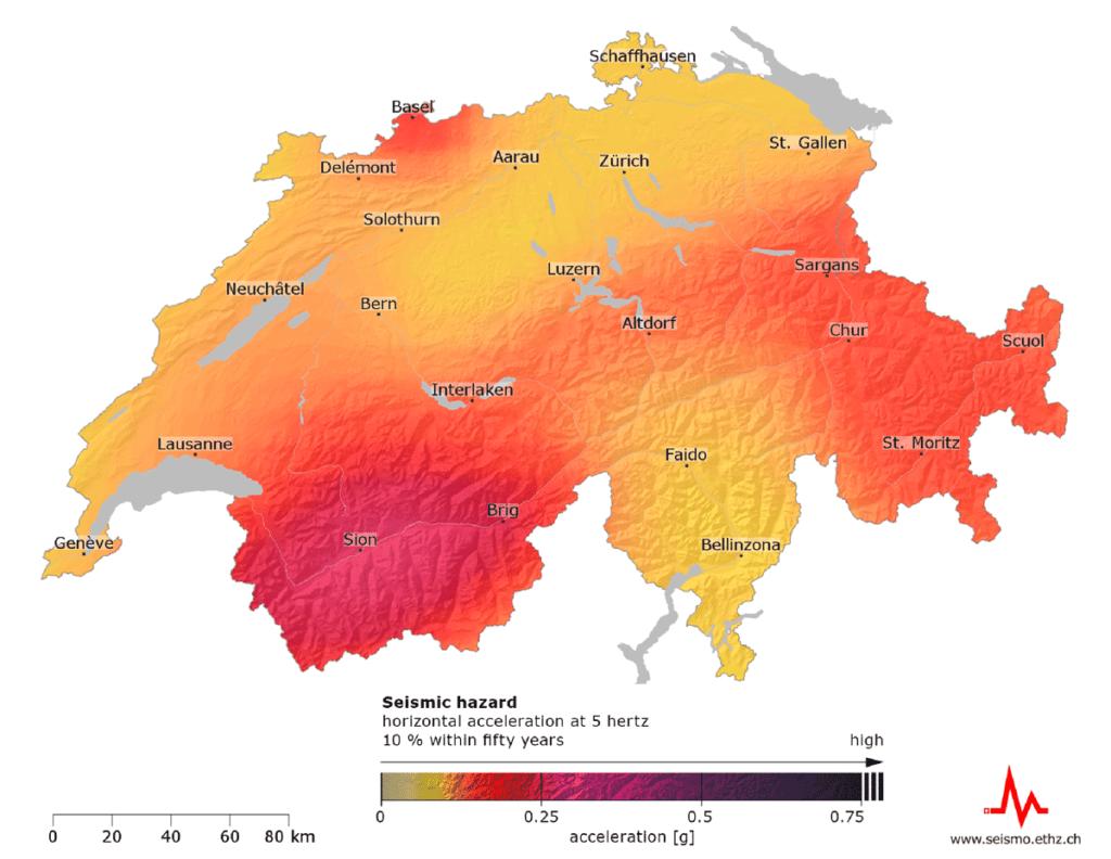carte des zones sismique suisse