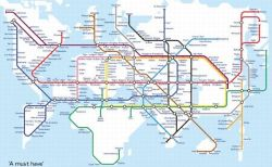 もしも世界が高速鉄道で結ばれたら…自由な発想で作られた仮想路線図がユニーク