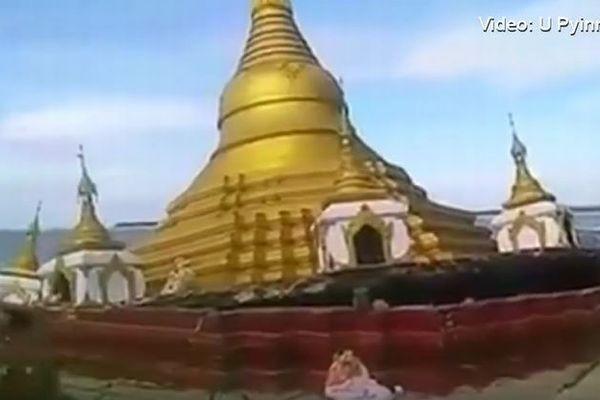 ミャンマーで洪水により巨大な仏塔が川に飲み込まれる姿が撮影される【動画】