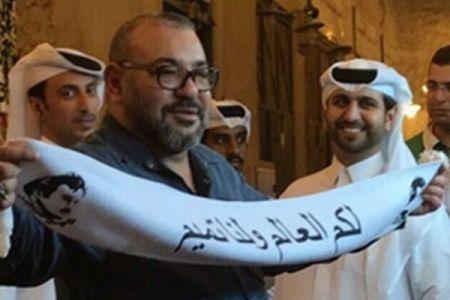 モロッコ国王が外遊先のカタールで、支援を表明するような写真を捏造される